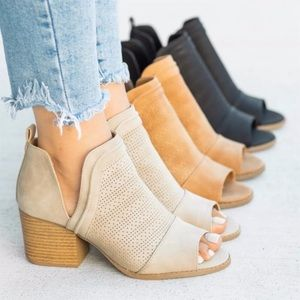 womens cut out booties